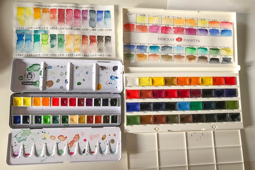 Aquarellfarbkästen als Zeichen von Kreativität