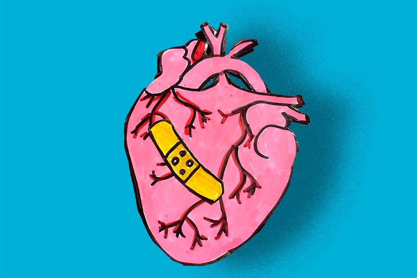Angeschlagenes Comic-Herz