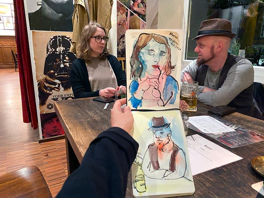 Roberta beim Braunschweiger Illustratoren-Stammtisch