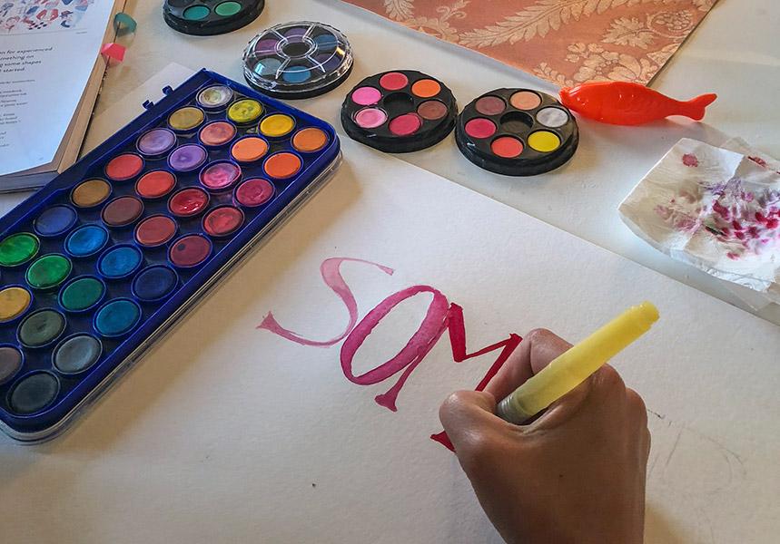 Impuls, 5 Minuten, kleines Kreativprojekt, Farbkasten, Schrift
