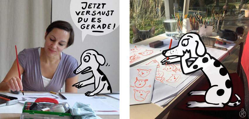 Der innere Kritiker von Regina Kehn ist ein gezeichneter Schweinehund, der auf Instagram zu Wort kommt