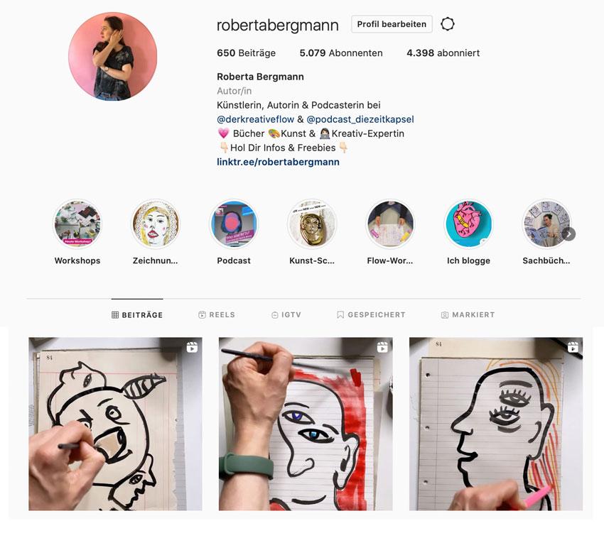 Roberta Bergmann auf Instagram, drei Zeitraffer-Videos zur Picasso-Aufgabe